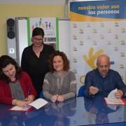 Firma de convenio entre Grupo AMÁS, Ayuntamiento de Móstoles y Colegio de Educación Especial Miguel de Unamuno. Foto: Grupo AMÁS.