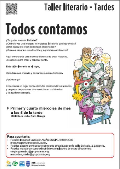 Taller literario de Grupo AMÁS y el Ayuntamiento de Leganés.
