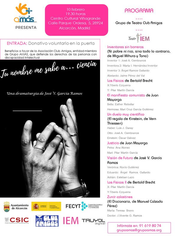 """""""Tu nombre me sabe a ciencia"""", Teatro Ciéntifico el 10 de febrero en Alcorcón. Foto: Grupo AMÁS."""