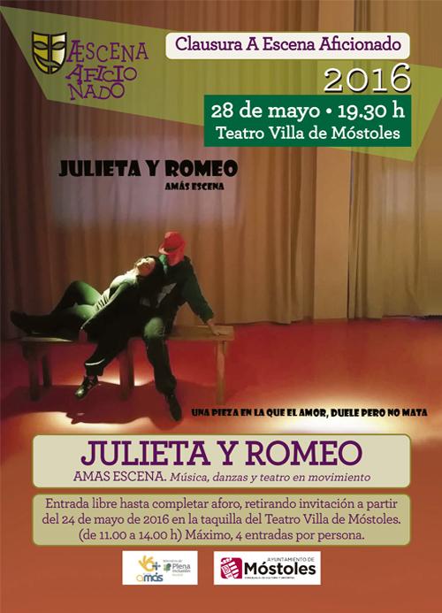 """AMÁS Escena representa la obra """"Julieta y Romeo"""" el próximo 28 de mayo en el Teatro Villa de Móstoles."""