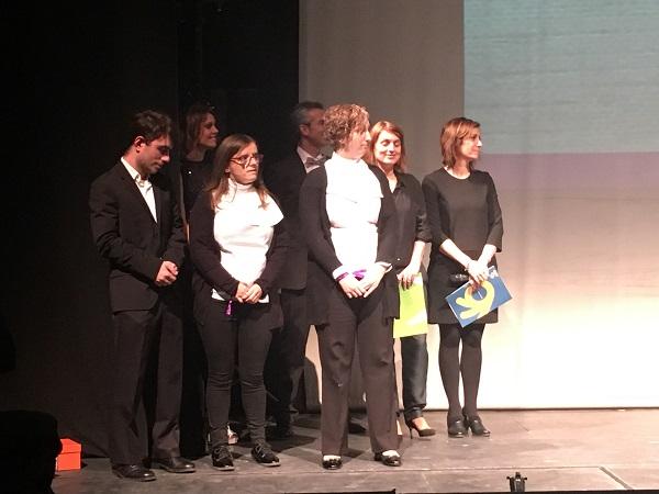 L@s azafat@s de eventos en formación, de Grupo AMÁS en la entrega de premios de Airbus Getafe. Foto:Grupo AMÁS.