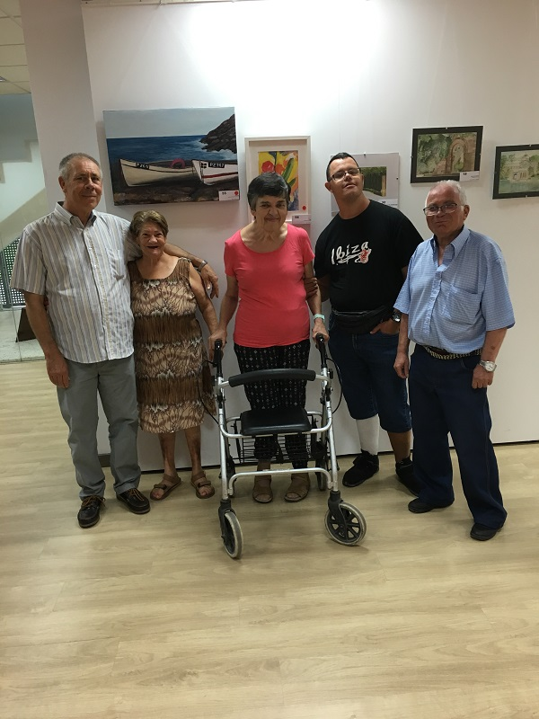 """Ventura Calso y David Carmona en la exposición """"Amigos por la acuarela"""". Foto: Grupo AMÁS."""