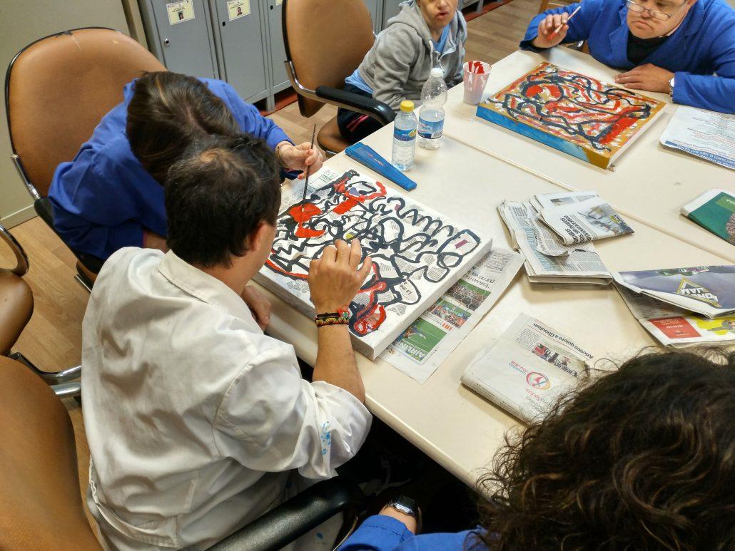 Artistas de Grupo AMÁS en las primeras fases de creación. Foto: Grupo AMÁS.