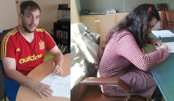 Lorena Martínez y Miguel Mármol firmando sus contratos laborales con AMÁS Fácil. Foto: Grupo AMÁS.
