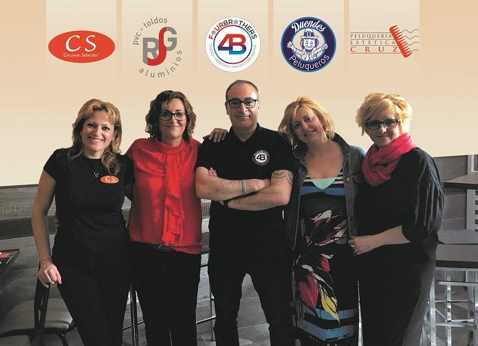 Propietari@s de los negocios solidarios Cocina Selecta, Duendes Peluqueros, FourBrothers, JRG ALUMINIOS-PVC y Peluquería Cruz.