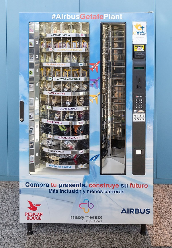 Máquina de Vending Solidario de Grupo AMÁS en Airbus Getafe. Foto: Airbus.