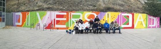 """Mural inclusivo en Leganés """"Transforma tu ciudad"""". Foto: Grupo AMÁS."""