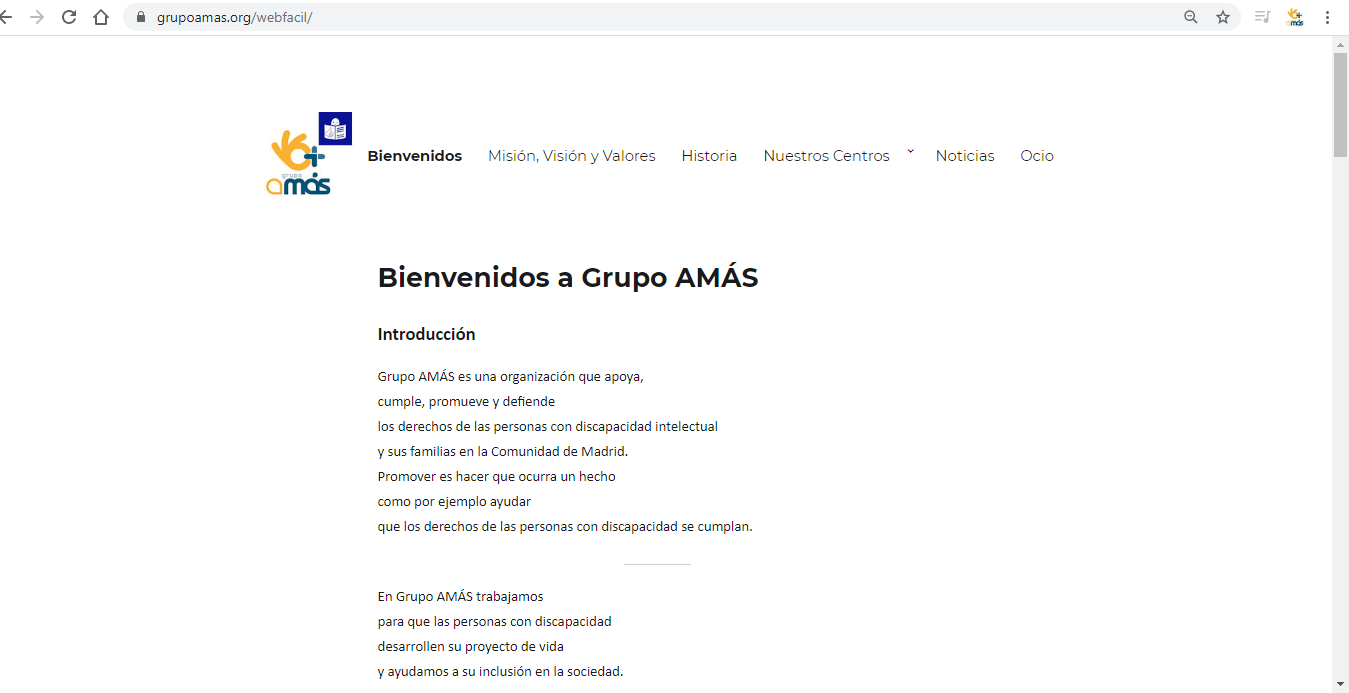 Página de Grupo AMÁS adaptada a Lectura Fácil. Foto: Grupo AMÁS