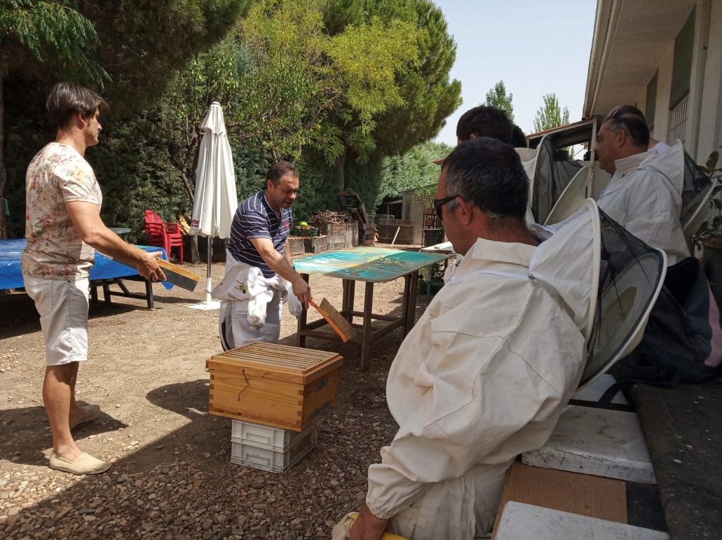 Preparación de las colmenas para el apiario municipal de Leganés. Foto: Grupo AMÁS.