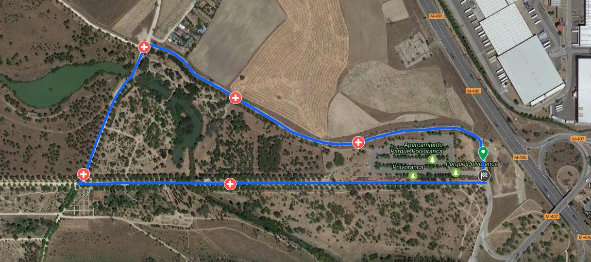 Plano de la Carrera por la Inclusión en el Parque Polvoranca Leganés-Alcorcón.