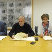 De izquierda a derecha: David Lucas, alcalde de Móstoles, Carlos Pérez Presidente de Grupo AMÁS, María Ángeles Sancho Presidenta de Afandem e Ismael Carrillo Director General de Atención a Personas de Grupo AMÁS.