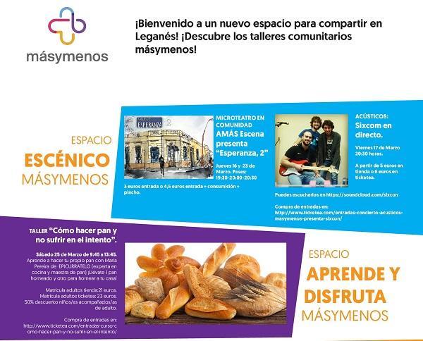 Talleres comunitarios en la Concept Store Másymenos en Leganés.