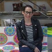 """Raquel Serrano, autora del blog """"180 grados"""" visita """"Másymenos"""". Foto : Grupo AMÁS."""