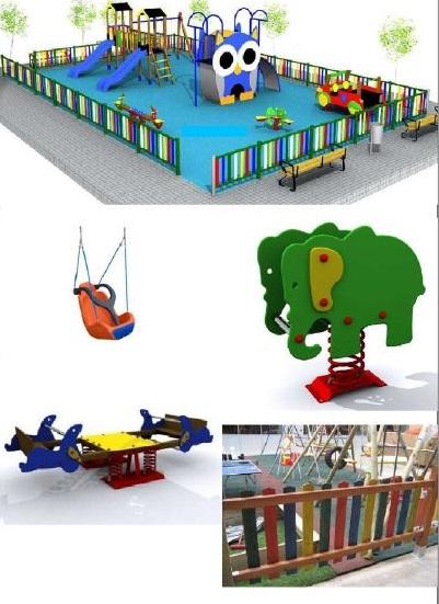 Zona infantil con columpios adaptados para todos los niños y niñas.